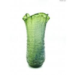 Zielony duży wazon szkło artystyczne bąble szklana nitka