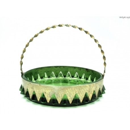Zielona patera w metalowej obręczy w stylu art deco