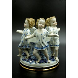 Porcelanowy figuralny stary pojemnik przybornik