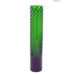 Wąski długi zielony wazon kanelowany