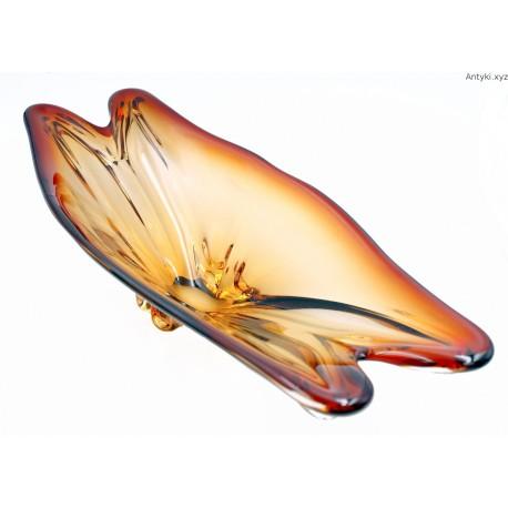 Wielka bursztynowo miodowa patera 57 cm.