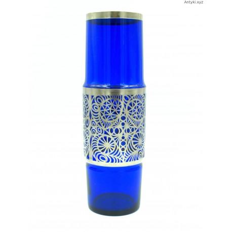 Kobaltowy szklany wazon z metalowym ozdobną opaską