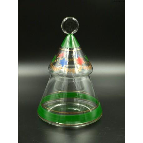 Choinka szklana bomboniera pojemnik
