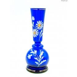 Kobaltowy wazon ręcznie malowany szkło kanelowane