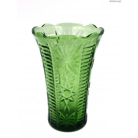 Stary zielony wazon szkło formowane