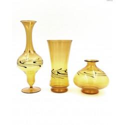 Lauscha Albin Schaedel komplet bursztynowych wazonów