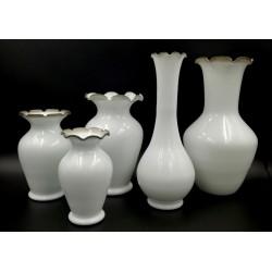 Komplet wazonów z mlecznego szkła 5 szt