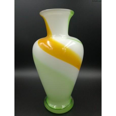 Krosno duży pękaty wazon w kolorach zieleni i żółci