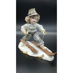 figurka narciarz porcelana