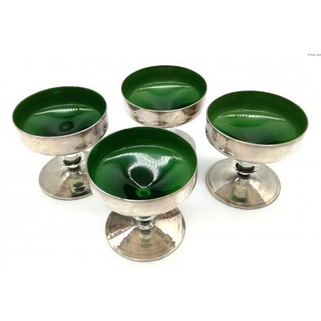 Pucharki zielone srebrzone komplet