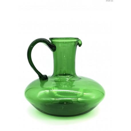 Duży zielony pękaty dzban wazon
