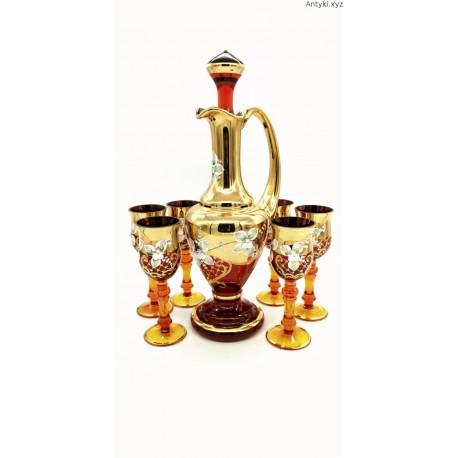 Komplet karafka kieliszki złocone ręcznie malowane