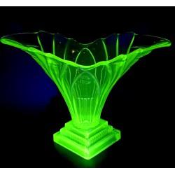 Walther&Sohne wazon Art Deco, szkło uranowe