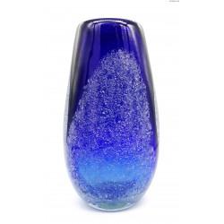 Kobaltowy duży wazon grube szkło wtrącenia w masie