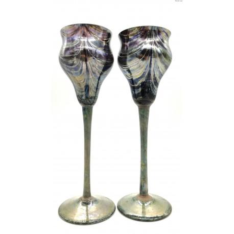 Art Nouveau dwa duże kielichy Loetz Kralik Rindskopf