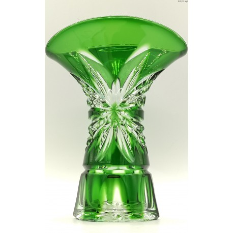 Bohemia zielony wazon szkło kryształowe