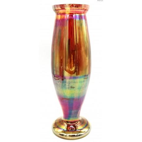 Art Nouveau czerwony iryzowany wazon
