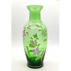 Malowany zielony duży wazon